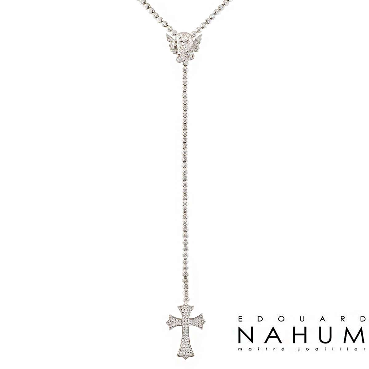Edouard Nahum 18k White Gold Diamond Angel and Cross Necklace 14.66ct